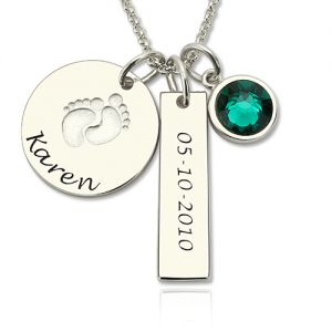 1st Mother's Day Present Baby Feet Disc Necklace With Birthstone Sterling Silver