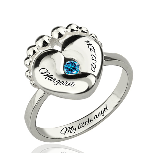 engraved baby birthstone ring sterling silver