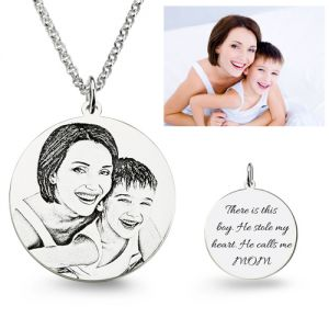 1st Mother's Day Present Personalized Photo Engraved Necklace