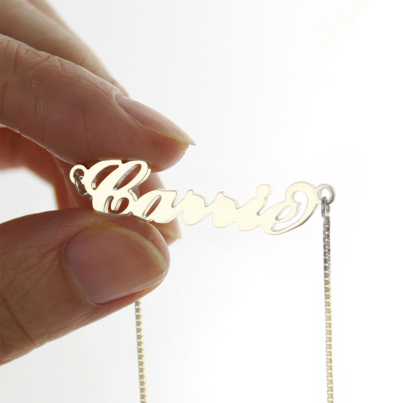 Personalized Signature Carrie Style Necklace Silver