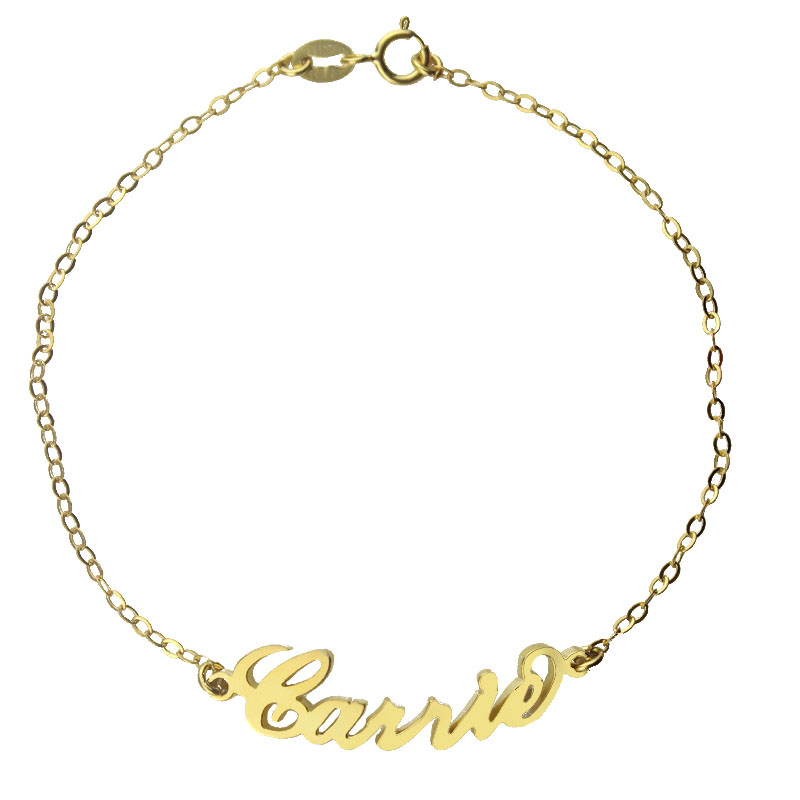 18k gold plated carrie name bracelet