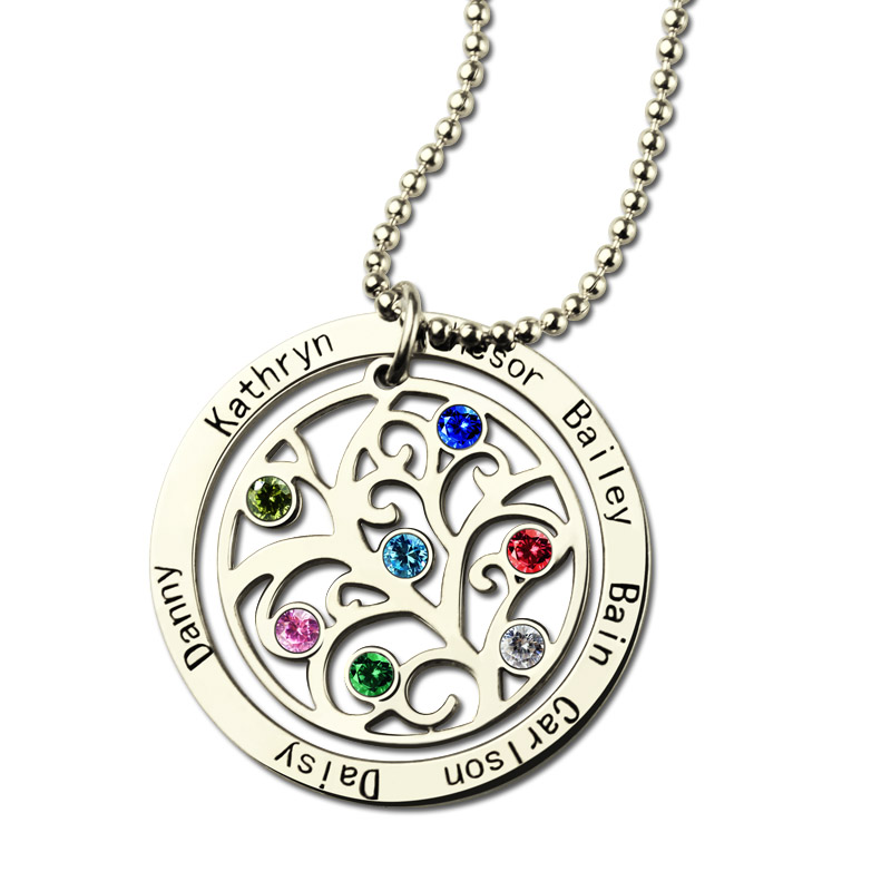 Family tree birthstone name necklace personalized family tree birthstone name necklace aloadofball Gallery