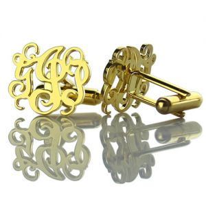 Monogrammed Cuff links Cut Out Initials 18k Gold Plated