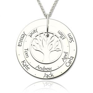 Sterling Silver Disc Family Tree Necklace for Mother