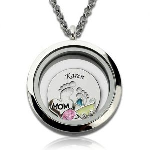 Engraved Baby Feet Floating Charm Locket for Mom