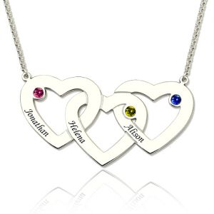 b7cd4ab25c Intertwined Hearts Birthstones Necklace In Sterling Silver