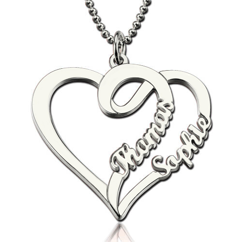e00222edf4c53 Double Name Heart Necklace for Couples Valentine s Day Gift