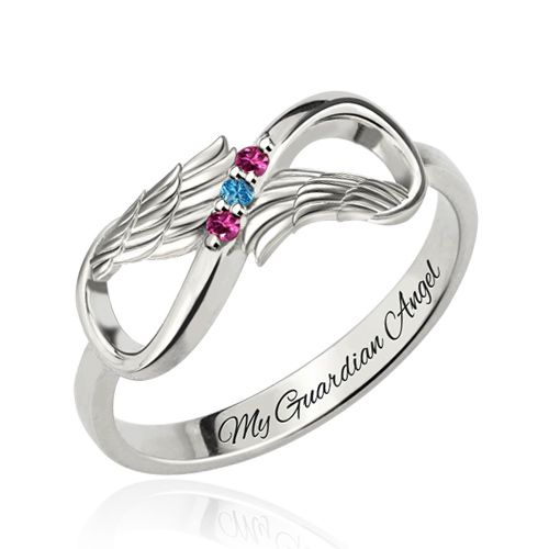 Personalized Mothers Ring With 3 Birthstones Platinum Plated