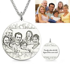 Engraved photo necklace personalized family photo engraved necklace sterling silver aloadofball Choice Image