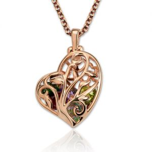 Heart Cage Family Tree Necklace With Birthstones In Rose Gold