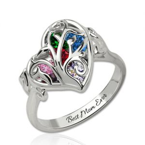 Personalized Heart Mothers Rings With Birthstones Platinum Plated