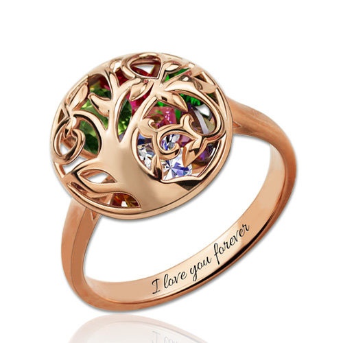 Personalized Mothers Round Ring With Birthstones In Rose Gold