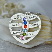 Moms Necklace With Kids Name & Birthstone In Sterling Silver