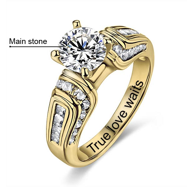 10k/14k Engraved Round Gemstone Wedding Ring
