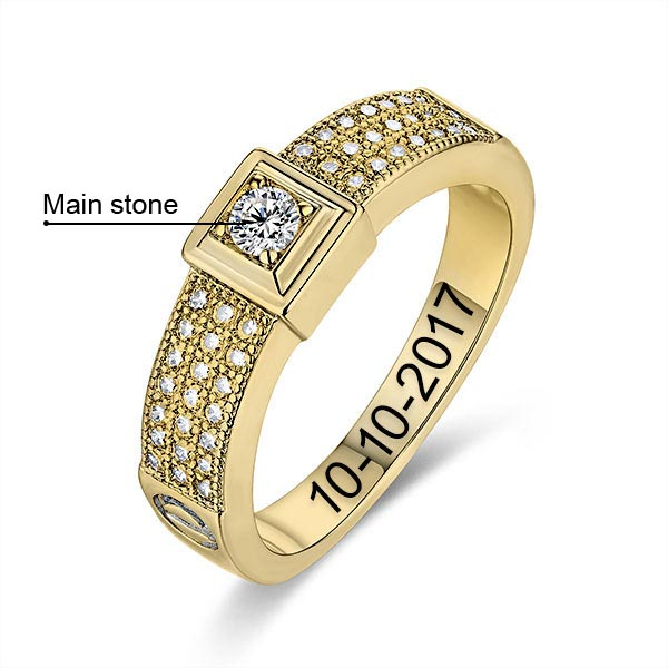 10k/14k Engraved Gemstone Classic Engagement Ring