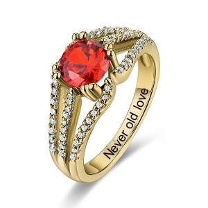 Engraved Halo Gemstone Bridal Ring For Special Her In Gold