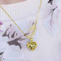 Custom Heart Cage Birthstone Necklace Gold Plated