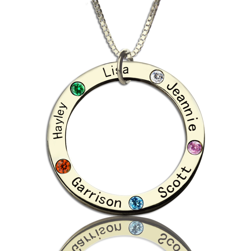 Mothers Family Circle Name Necklace Engraved Birthstone Silver