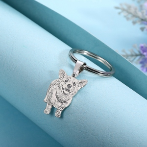 Engraved Pet Photo Keychain/Necklace Sterling Silver